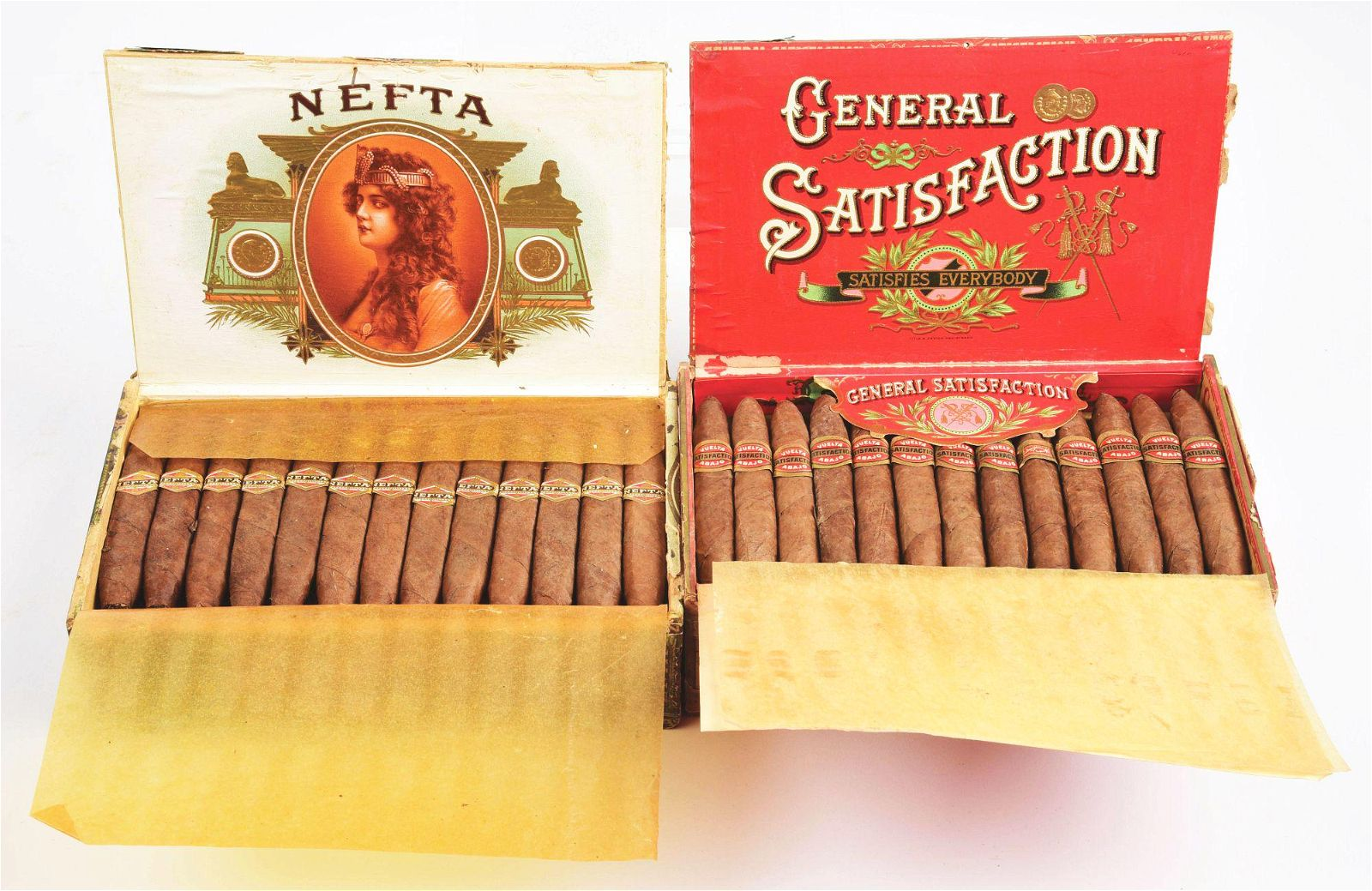 LOT OF 2: CIGAR BOXES WITH ORIGINAL CONTENTS.