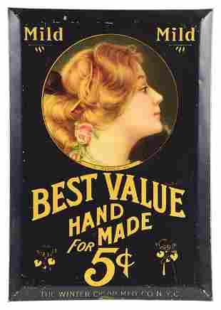BEST VALUE HANDMADE CIGARS TIN OVER CARDBOARD SIGN.