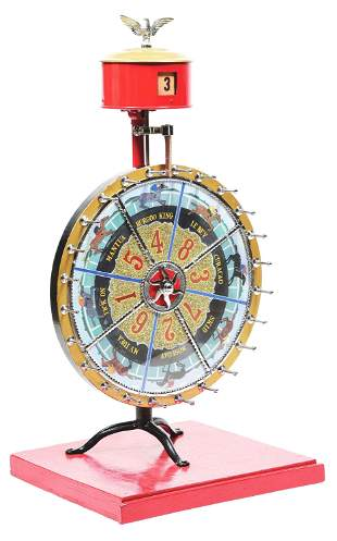 EARLY HORSE RACE GAMBLING WHEEL WITH ODDS MAKER.