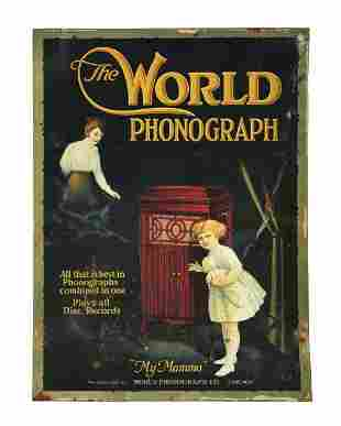 THE WORLD PHONOGRAPH TIN OVER CARDBOARD SIGN.