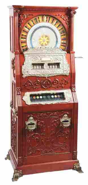 5¢ MILLS DUPLEX UPRIGHT SLOT MACHINE.