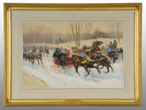 """1: """"Sleighing in Central Park"""" by Thure de Thulstrup"""