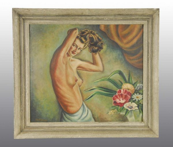 2: Oil Painting of Half Nude Woman.