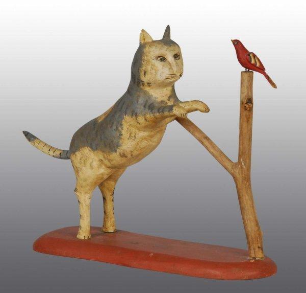 14: Wooden Folk Art Gottshall Carved Cat
