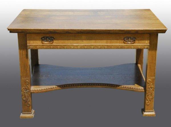 20: Oak Desk with Single Drawer.