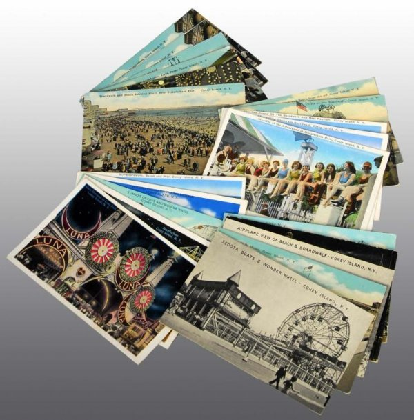 22: Lot of 21: Coney Island, New York Postcards.