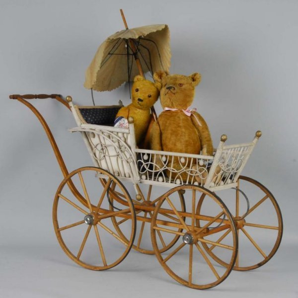 1000: Lot of 2: Mohair Teddy Bears and Doll Carriage.