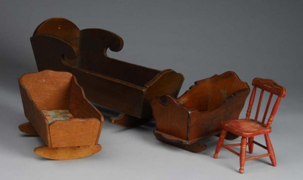 1013: Painted Red Folk Art Chair and 3 Cradles.