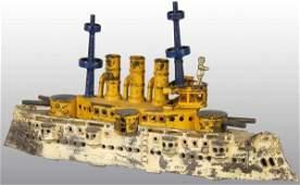 1555 Cast Iron Large Dent Battleship Toy