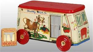 2161 Tin Litho Gong Bell Healthy Milk Truck Toy