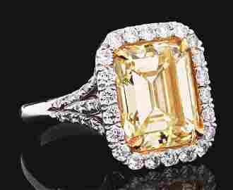PLATINUM NATURAL FANCY LIGHT YELLOW 6.19CT DIAMOND RING