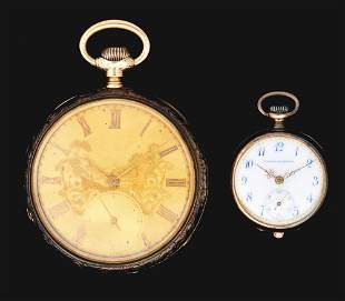 LOT OF 2: 18K O/F HAMILTON 969 AND SMALL GOLD WATCH.
