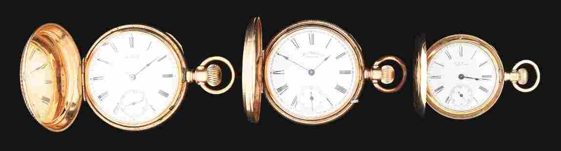 LOT OF 3: 14K GOLD AMERICAN WALTHAM H/C POCKET WATCHES.
