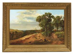 AMERICAN SCHOOL (19TH CENTURY) LANDSCAPE WITH FIGURES