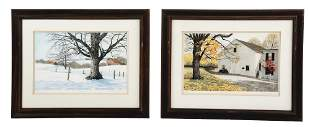 LOT OF 2: HAND-COLORED ETCHINGS BY CAROL COLLETTE