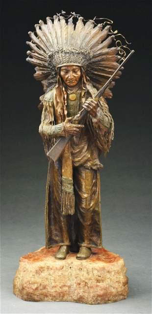 NATIVE AMERICAN INDIAN CHIEF BRONZE SCULPTURE.