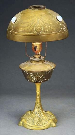 FRENCH ART NOUVEAU PINE CONE DESK LAMP.
