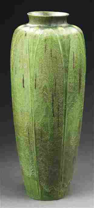 MONUMENTAL GRUEBY TWO-TONE VASE WITH BUDS.