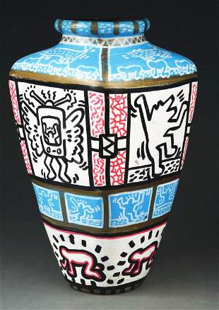 RARE AND IMPORTANT KEITH HARING VASE.