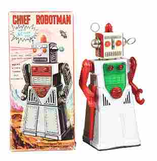 JAPANESE BATTERY OPERATED TIN LITHO CHIEF ROBOT MAN.