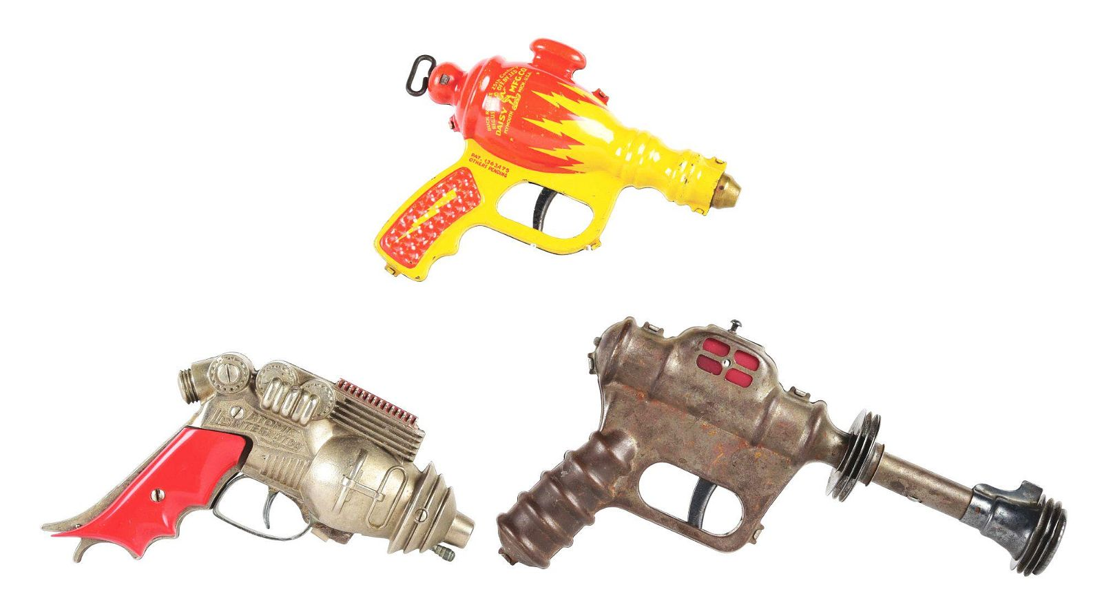 LOT OF 3: AMERICAN MADE TOY SPACE GUNS.