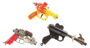 LOT OF 3: EARLY TOY PISTOLS.