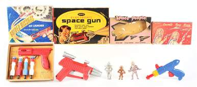 LOT OF 4: VARIOUS AMERICAN MADE SPACE TOYS.