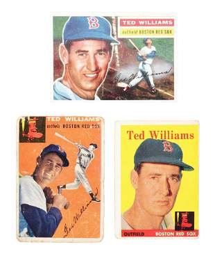 LOT OF 3: 1950'S TOPPS TED WILLIAMS BASEBALL CARDS.