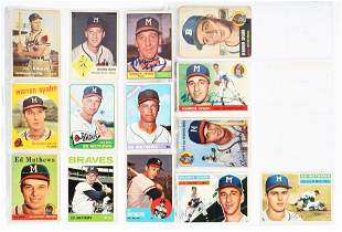 LOT OF 14:1950'S AND 1960'S MILWAUKEE BRAVES BASEBALL