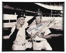 FRAMED AUTOGRAPHED MICKEY MANTLE AND CASEY STENGEL