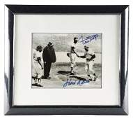 FRAMED FACSIMILE PHOTOGRAPH OF WILLIE MAYS AND HANK