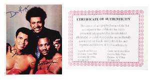 AUTOGRAPHED BOXING PHOTO OF DON KING, MUHAMMAD ALI, AND