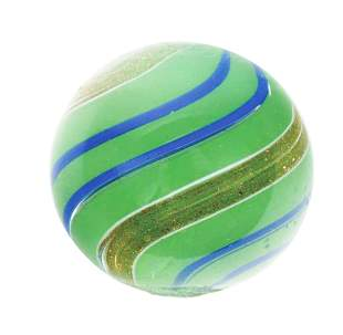 SEMI OPAQUE GREEN BANDED LUTZ MARBLE.