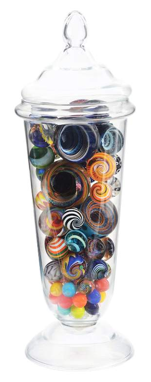 LARGE JAR OF CONTEMPORARY MARBLES.
