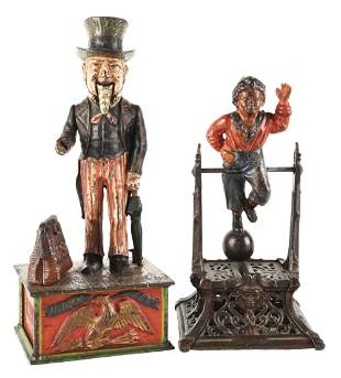 LOT OF 2: UNCLE SAM AND BOY ON TRAPEZE BANKS.