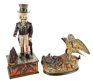 LOT OF 2: UNCLE SAM AND EAGLE WITH EAGLETS BANKS.