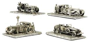 FOUR CONTEMPORARY PEWTER RAYMOND SQUIRES AUTOMOTIVE