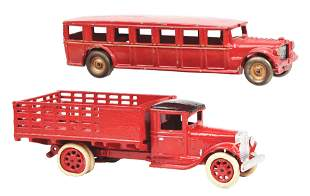 LOT OF 2: CAST IRON ARCADE TOY BUS AND TRUCK ITEMS.