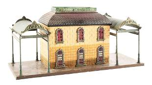 GERMAN BING O GAUGE TRAIN STATION WITH TWO AWNINGS.