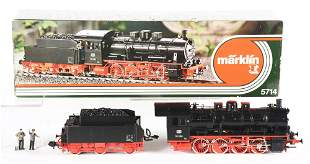 MARKLIN NO. 5714 I-GAUGE TRAIN ENGINE AND TENDER.