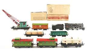LOT OF 11: LIONEL NO. 385-E IN GUNMETAL AND OTHER CARS.