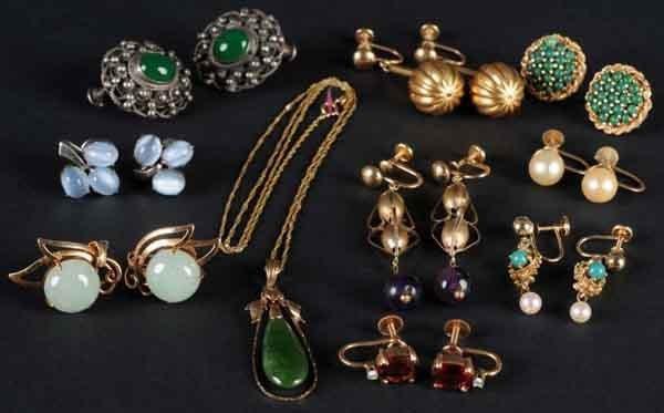 2: Lot of 9: Pairs of Earrings & 1 14K Gold Pendant