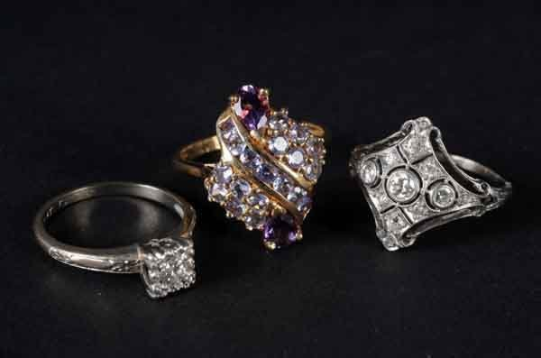 8: Lot of 3: Diamond Rings.