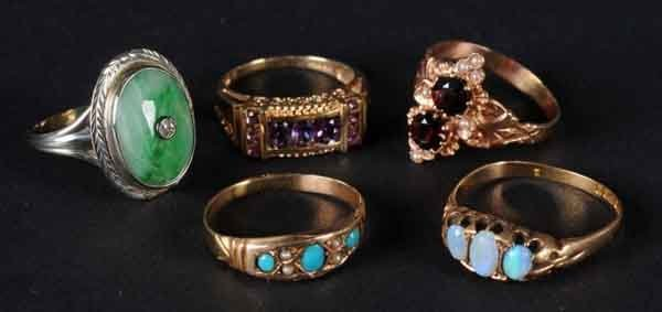 13: Lot of 5: Gold Rings.