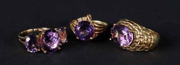 17: Lot of 3: Gold Rings with Amethysts.