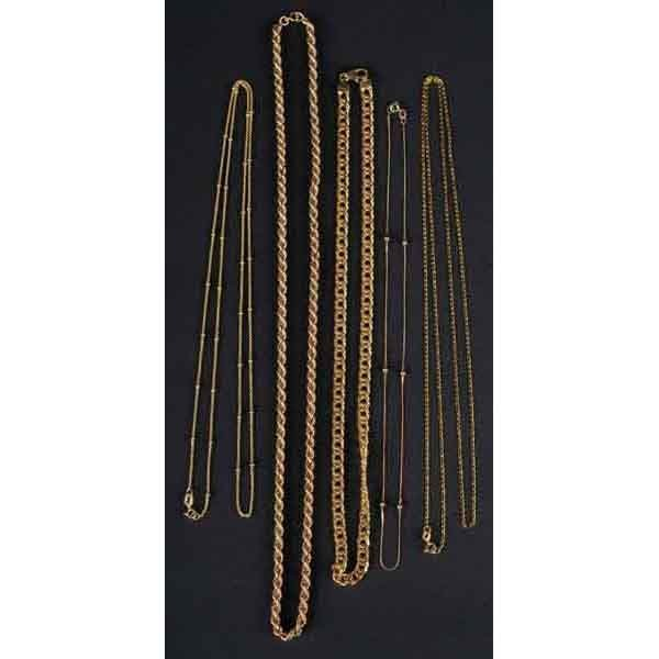 19: Lot of 5: Gold Necklaces 14K