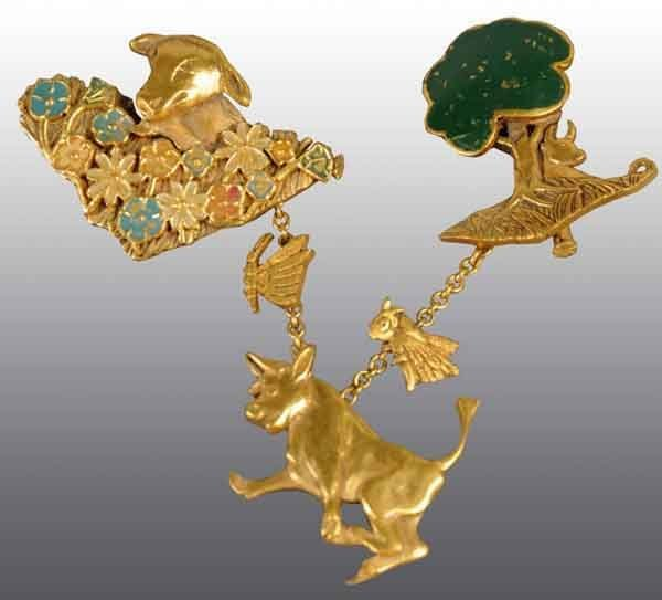 21: French Brooch with Ferdinand the Bull Characters.
