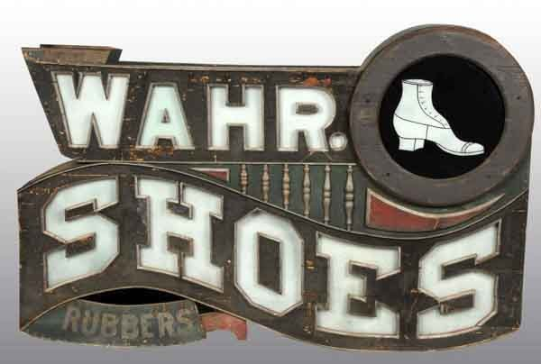 886: Large Wahr Shoe Store Co. Advertising Sign.