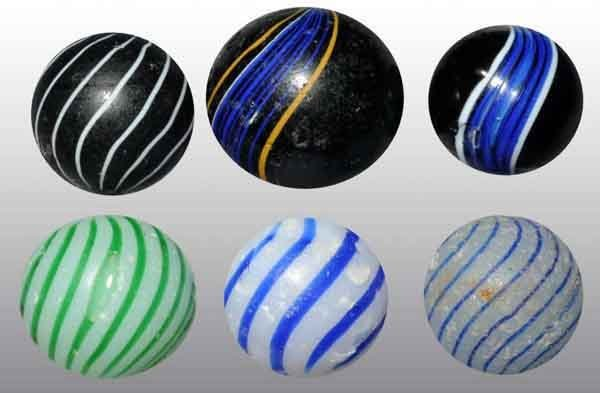 1205: Lot of 6: Handmade Marbles.
