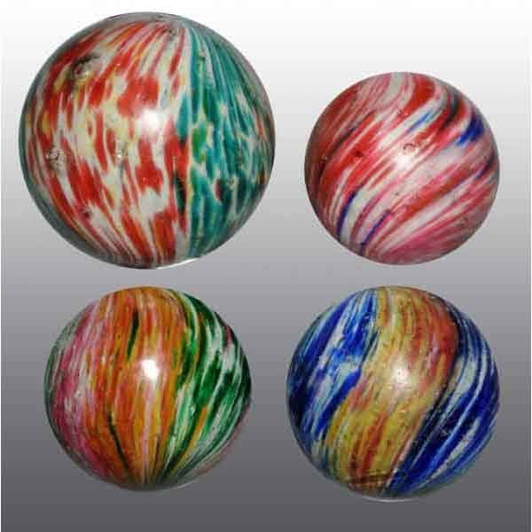 1207: Lot of 4: Large Onionskin Marbles.